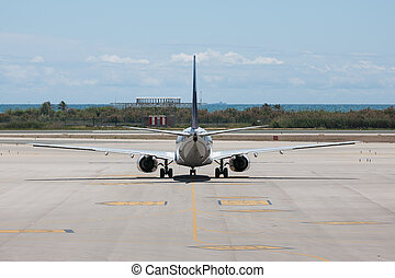 Plane ready for departure at the airport of Barcelona - A...