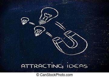attirando, talenti, DIVERTENTE, magnete, lightbulb, disegno