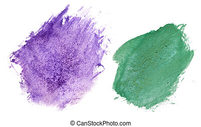 brushstroke - blue and green paint blots smeared randomly on...