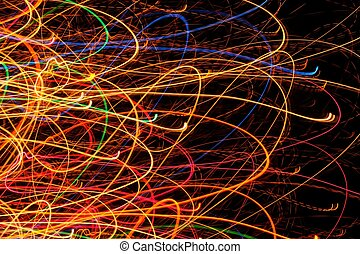 Abstract Bright Multicolored Glowing Lines and Curves on...