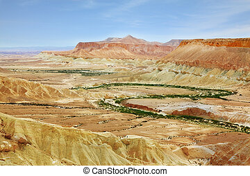 Negev Desert. Creek meanders through the picturesque...