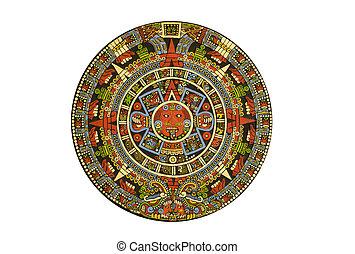 sacré, pre-Columbien, aztèque, calendrier