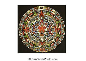 azteca, calendario, tallado, afuera, lava, piedra,...