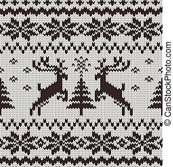 Vector Seamless Knitted Pattern with Deers - Black and White...