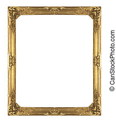 Picture Frame - Gold picture Frame Isolated on White...