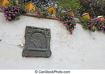 Washington Irving memorial plaque in Seville, Spain - Bronze...
