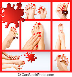 Collage of several photos for beauty industry (red manicure...