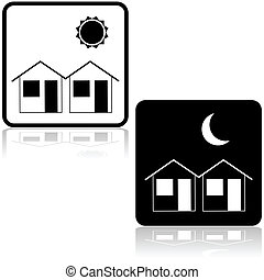 Neighborhood - Icon illustration showing a couple of houses...