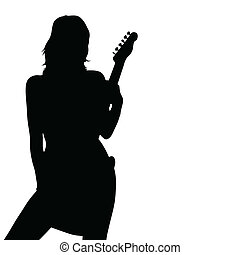 girl posing with a guitar black silhouette