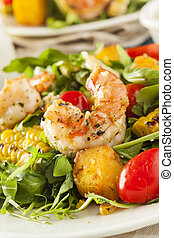 Healthy Shrimp and Arugula Salad with Corn and Tomatoes