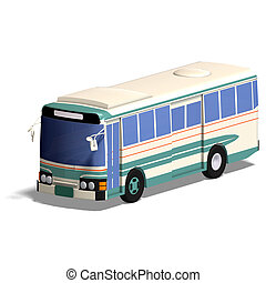 omnibus - rendering of a bus with Clipping Path and shadow...