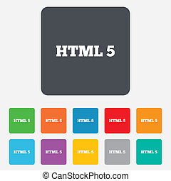 HTML5 sign icon New Markup language symbol Rounded squares...