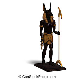 statue of egyptian god anubis - rendering of anubis statue...
