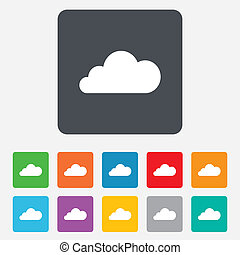 Cloud sign icon. Data storage symbol. Rounded squares 11...