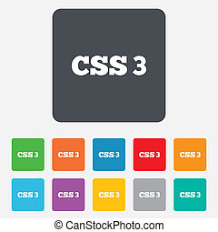 CSS3 sign icon Cascading Style Sheets symbol Rounded squares...