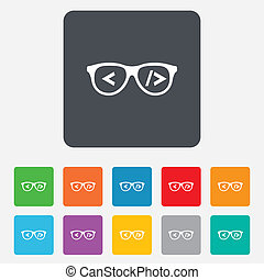 Coder sign icon Programmer symbol Glasses icon Rounded...