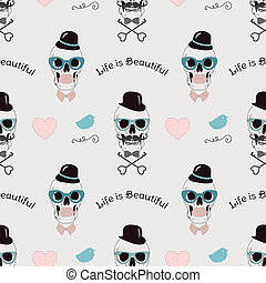 Life is Beautiful Funny Seamless Background - Conceptual...