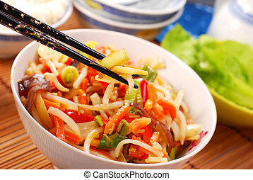china food - chinese food with various vegetables and rice