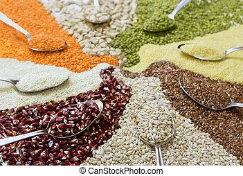 colheres, diferente, coloridos, cereais