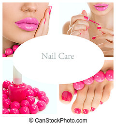 pedicure process - pink manicure and pedicure collage bright...