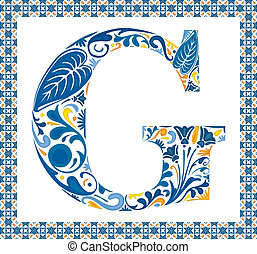 Blue letter G - Blue floral capital letter G in frame made...