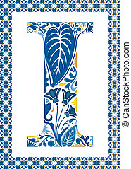 Blue letter I - Blue floral capital letter I in frame made...