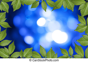 blue abstract background with green plant frame
