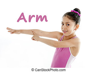 learning body parts school card - girl wearing a pink...
