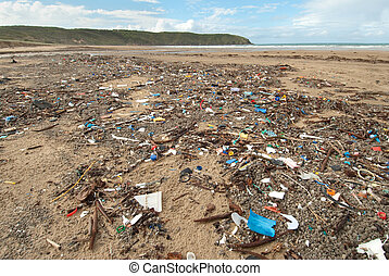Rubbish on Beach - An environmental disaster - Rubbish that...