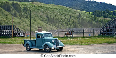 Cowboy\'s Old Truck - This shot shows a small town authentic...