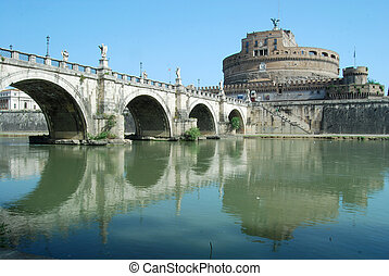 Mosty, na, Tiber, Rzeka, Rzym, -, Włochy