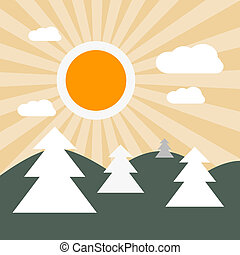 Flat Design Nature Landscape Illustration with Sun, Hills and Trees