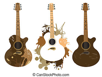 Three grunge acoustic guitars