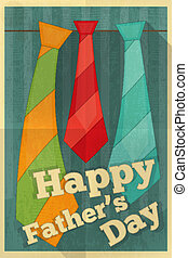 Fathers Day Poster with Ties Flat Design Retro Style Vector...