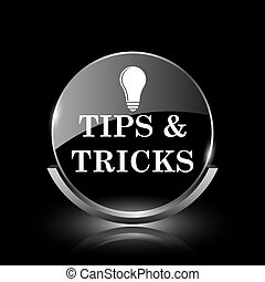 Tips and tricks icon - Shiny glossy glass icon on black...