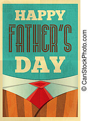 Father's Day Poster with Tie and Suit. Flat Design. Retro...