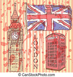 Sketch Big Ben, UK flag and phone cabin, vector background -...