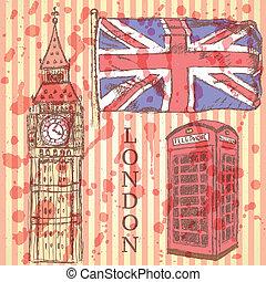 Sketch Big Ben, UK flag and phone cabin, vector background -...
