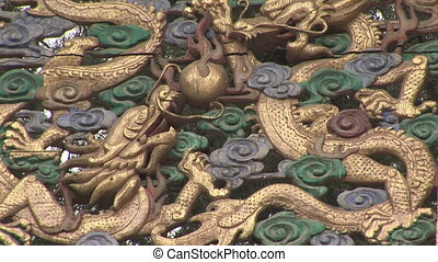 Dragon Architectural Detail - Carved dragons on a pagoda,...