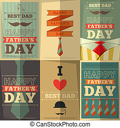 Father's Day Retro Posters Set. Flat Design. Vintage Style....