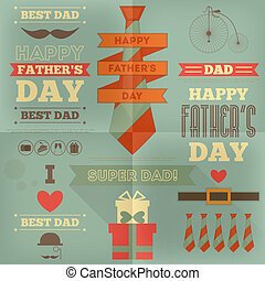 Fathers Day Card Flat Design Retro Style Vector Illustration...