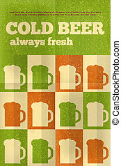 Beer Posters - Beer Retro Posters in Flat Design Style Green...