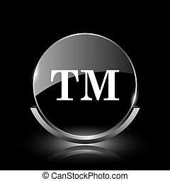 Trade mark icon - Shiny glossy glass icon on black...