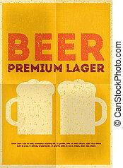 Beer Posters - Beer Retro Poster in Flat Design Style. Mug...