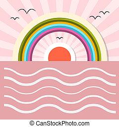 Ocean Abstract Retro Illustration with Sun, Birds, Rainbow