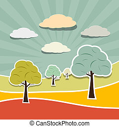 Retro Rural Paper Vector Landscape Background with Trees, Clouds