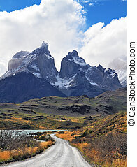 Grandiose landscape in the Chilean Andes, Patagonia -...