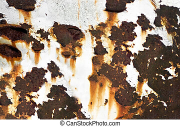 Old Rusted Metal - Closeup of rusted metal with chipped...
