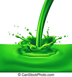 Green paint splashing - Pouring of green paint with...