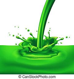 Green paint splashing